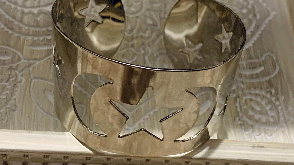 Moons & stars silver bangle