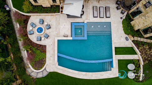 Curve Meets Geo Pool Drone Shot
