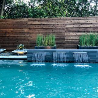 Dallas Modern Pool with Rain Falls