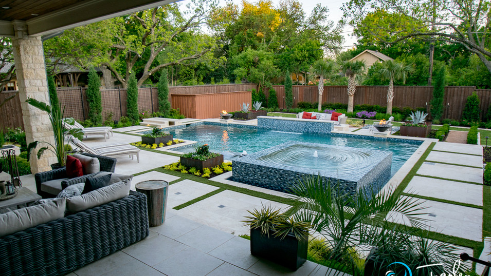 Dallas Modern Pool with Perimeter Overflow Spa
