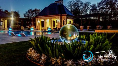 Glowing sphere  water feature