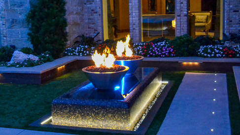 Floating Fire Bowls Water Feature