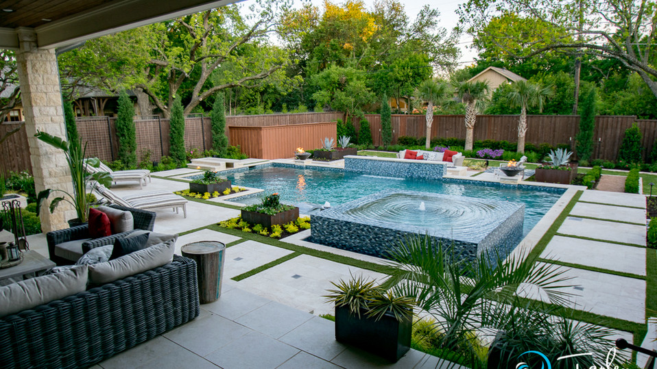 Dallas Transitional Pool Spa 19