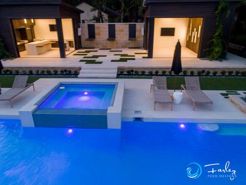 Modern raised spa and cabanas
