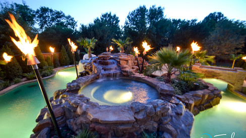 Night shot Colleyville Lazy River