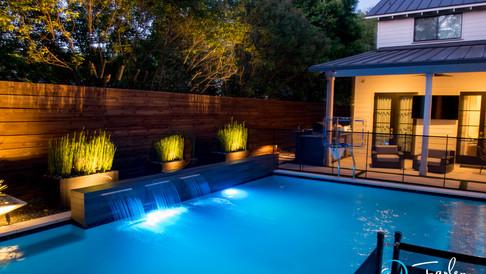 Modern Pool at Night