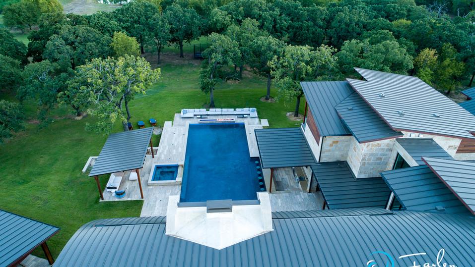 Contemporary Swim Up Bar Pool Drone shot