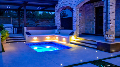 Spa at Night with Built In Seating