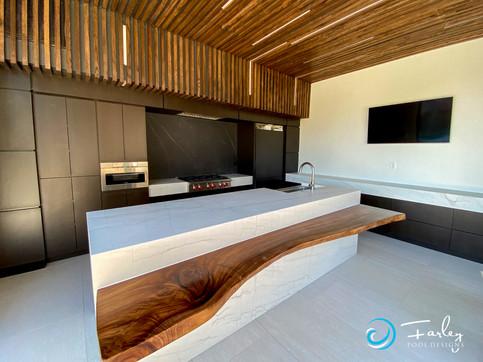 Modern kitchen in cabana with retractible doors
