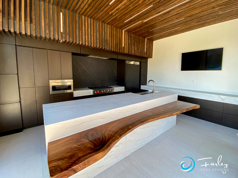 Modern kitchen in cabana with retractible doors