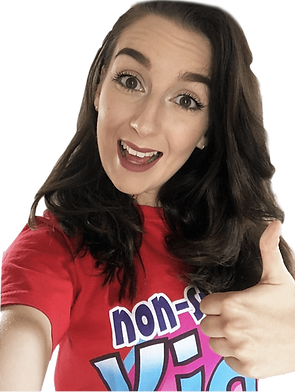 Non Stop Kids Entertainer in a non stop kids entertainment red top