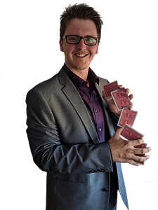 Kieran Shepherd, a Slightly Unusual entertainer poses with playing cards.