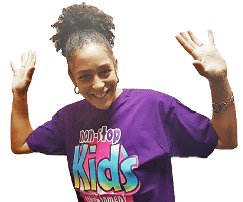 Female non stop kids entertainer with arms in the air