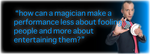 Blue and black quote banner used for a slightly unusual blog with magician posing with rubix cube and deck of cards