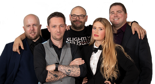sightly unusual magicians and illusionists team pose for the camera at a photoshoot