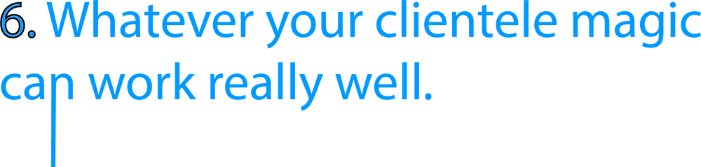 blue header which says 'whatever your clientele magic can work really well' which is used for a slightly unusual blog