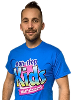 male kids entertainer called Leighton, in a blue non stop kids t-shirt