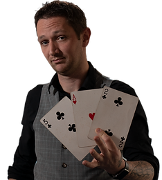A magician and illusionist entertainer for slightly unusual poes with big cards