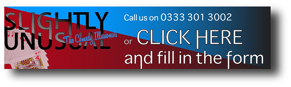 Red and blue Call to action banner for the comedy illusionists company slightly unusual