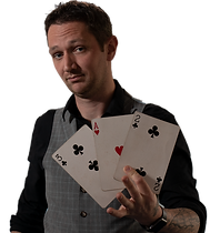 a slightly unusual magician and entertainer performs close up magic and illusions using a big deck of playing cards