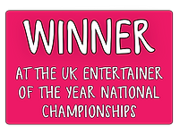 Winner at the uk entertainer of the year national championships in red box illustration design