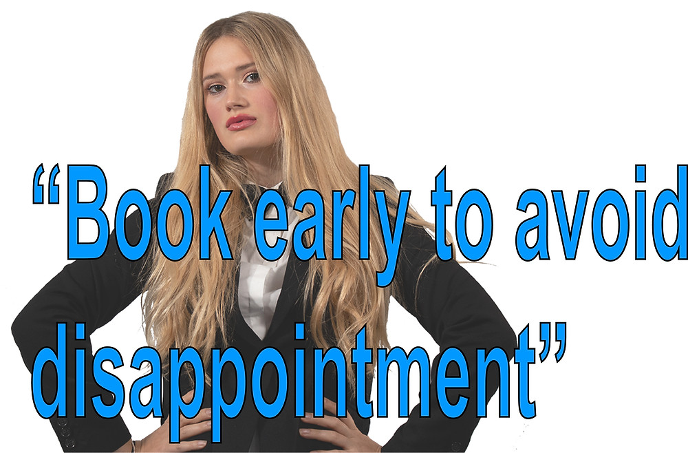 blue quote saying 'book early to avoid disappointment' with a female magician posing in the back