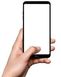 an LG smartphone being held
