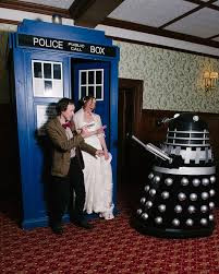 a doctor who themed wedding with a dalek and police call box