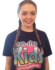 Kids entertainer wearing purple non stop kids top