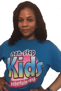 female childrens entertainer in a blue non stop kids to
