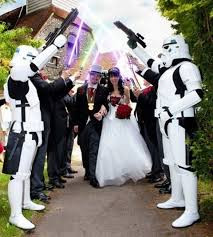 a star wars themed wedding with star troopers and lightsabers used for a slightly unusual blog
