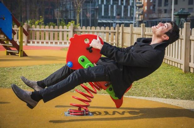 Man having fun in a fun park