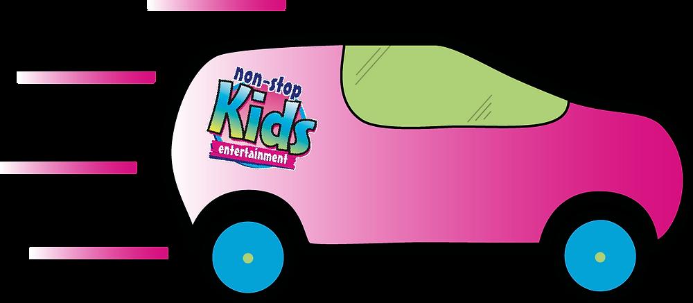 A non stop kids entertainment pink and blue car design made through adobe illustrator