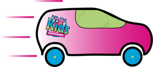 A non stop kids entertainment pink and blue car design made through adobe illustrator