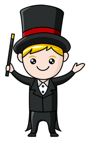 a magician illustration design used for a slightly unusual blog