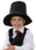Young magician in a suit & tie & a top hat