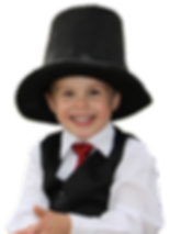 young magician in a top hat, suit & tie