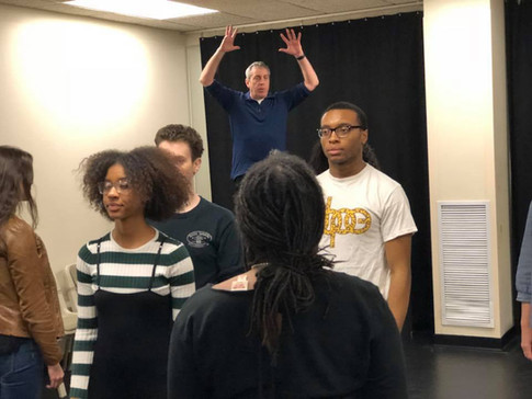 Rich Kitel leading a viewpoints exercise during a masterclass with Point Park