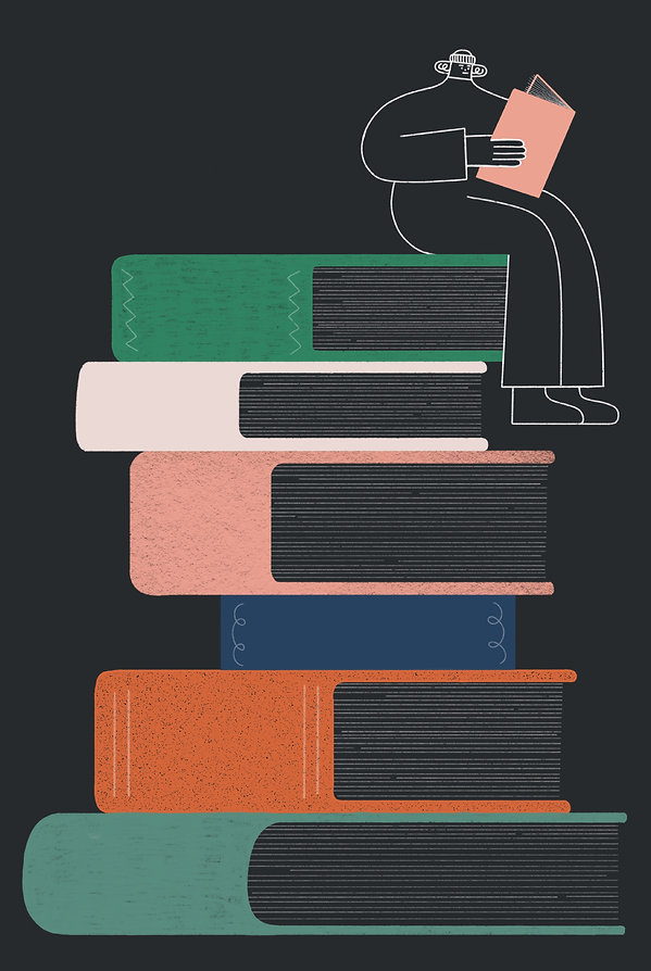 Editorial illustraton for Popshot magazine, for a poem about being in a school library at night