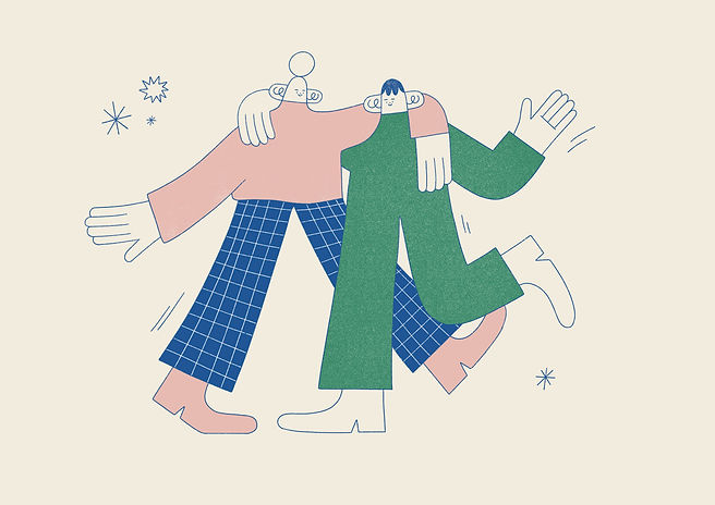 Two pals dancing