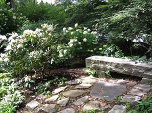Kinsey Garden stone bench.