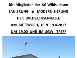 Einladung zur Infoveranstaltung - SANIERUNG DER WILDSACHSENHALLE für SGW Mitglieder