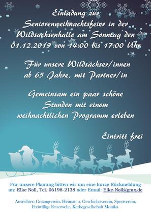 Einladung zur Senioren Weihnachtsfeier am Sonntag, 1. Dezember 2019 für alle Wildsächserinnen und Wi