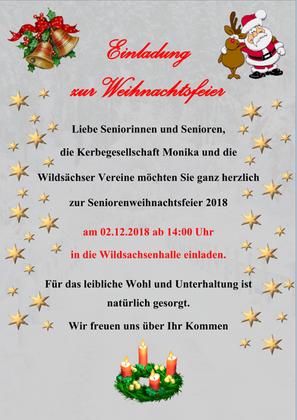 Einladung zur Weihnachtsfeier am 02.12.2018