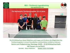 Tischtennisnachwuchstraining ab jetzt wieder bei der SG Wildsachsen