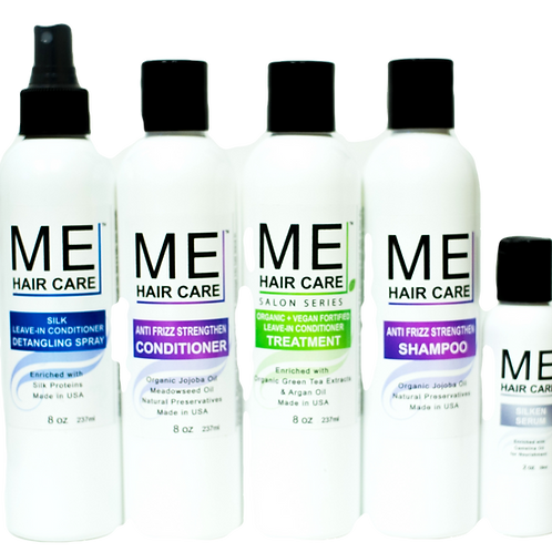 ME Anti Frizz Silk Press System w/ Fortified Treatment for Damage ends w/ Cap