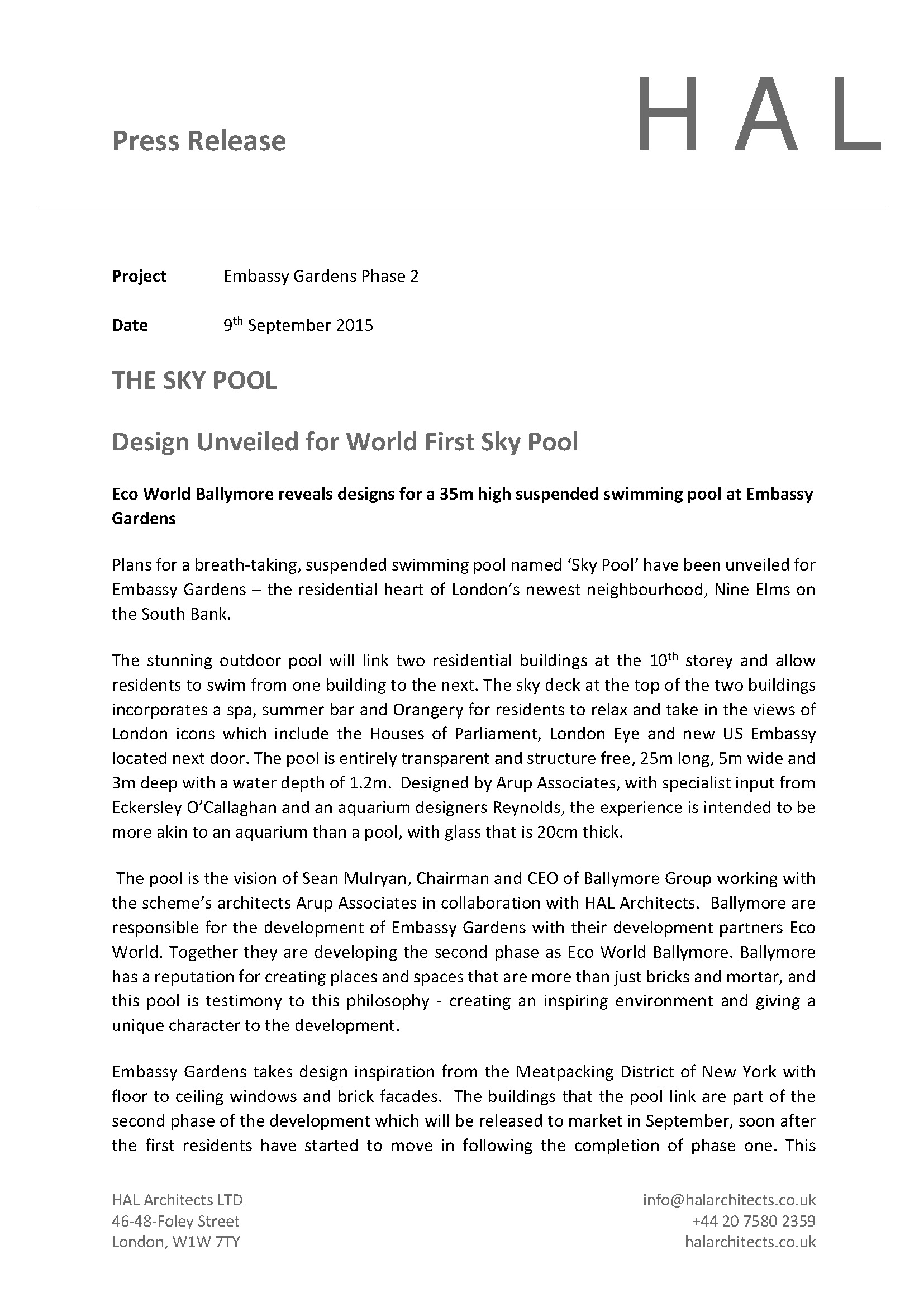 Sky Pool Press Release Page 1