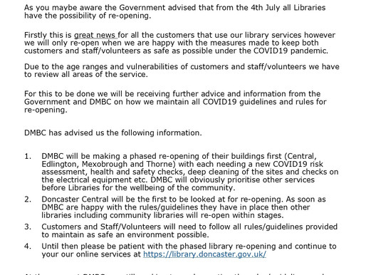 Libraries will be opening soon! Here's a message from Conisbrough Library