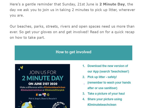 Sunday is 2-Minute Clean Day - Get Involved