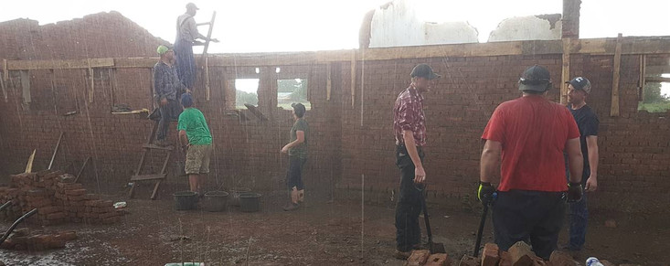 raining while pouring cement